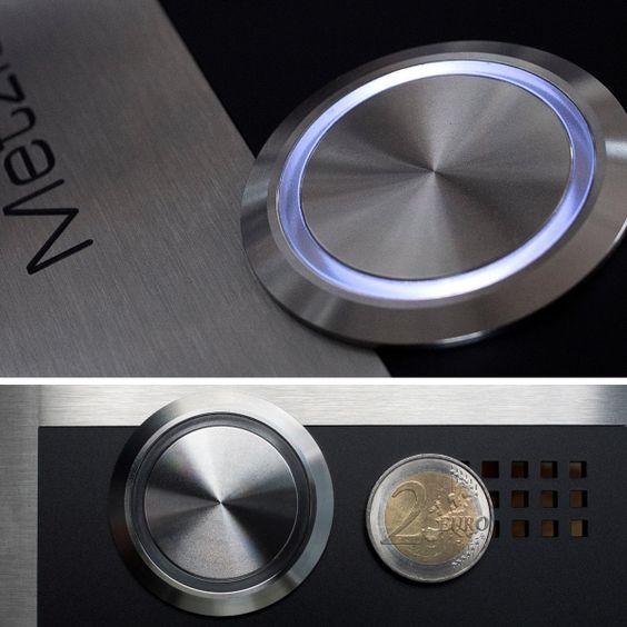 Ø40mm Edelstahl-LED-Taster von Metzler.