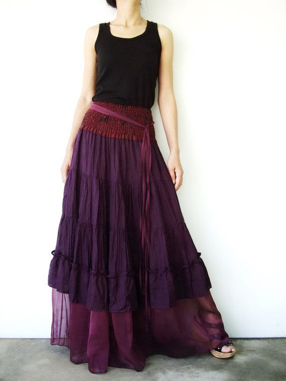 NO.36      Purple Cotton Tiered Peasant Skirt: