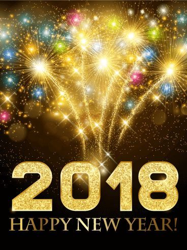 Colorful New Year Fireworks Card 2018