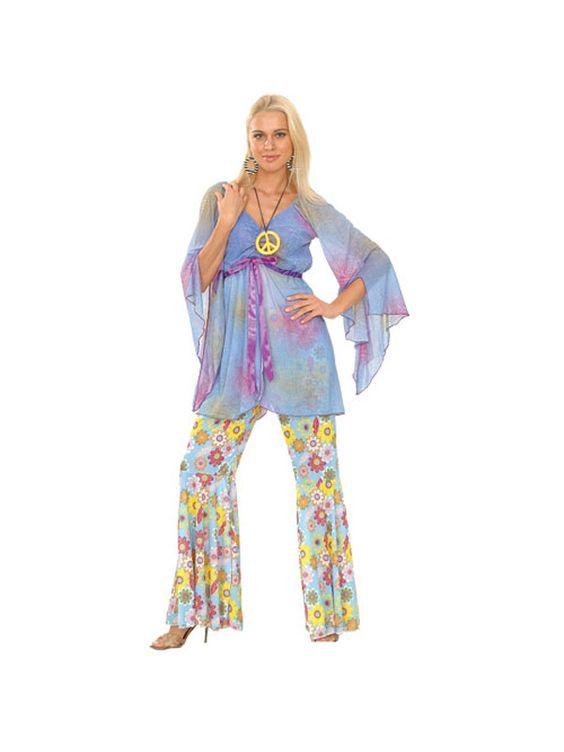 Adult 18 20 Woodstock Hippie Groovy Party Fancy Dress Costume 60s 70s Ladies | eBay