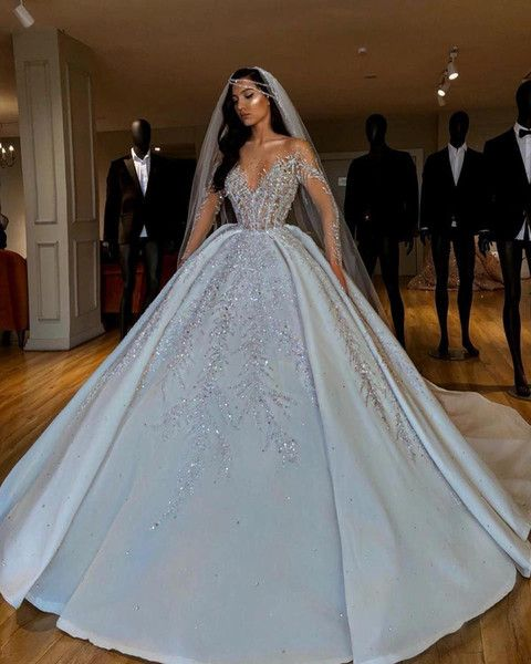 Luxurious Sparkly 2019 African Wedding Dresses Sheer Neck Long