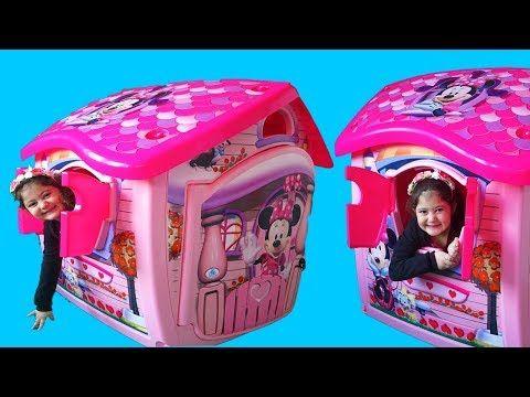 Masal And Oyku Build New Disney Minnie Mouse Playhouse Fun Vide37do Youtube Minnie Mouse Playhouse Disney Play Houses
