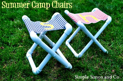 Summer camp chairs made using PVC pipe, fabric, and drilling a couple holes. Brilliant! Found via @UCreate