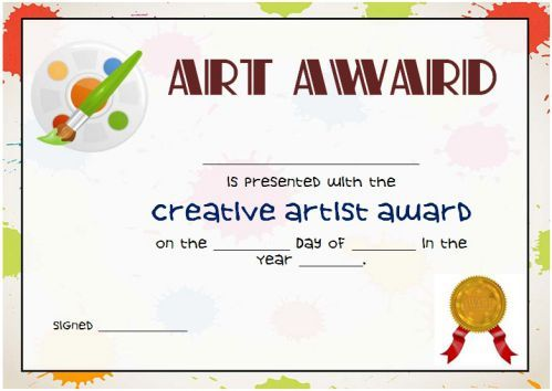 Art Award Certificate Free Printable Art Certificate Art Teacher Resources Awards Certificates Free