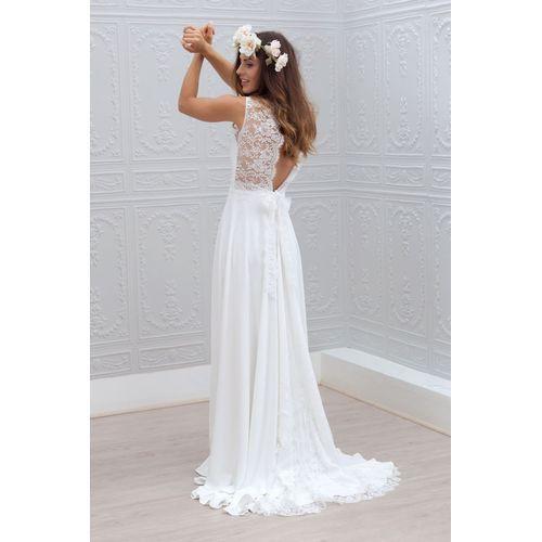 [127.61€] Vestido de noiva Naturais cintura Sem mangas linha-A/princesa