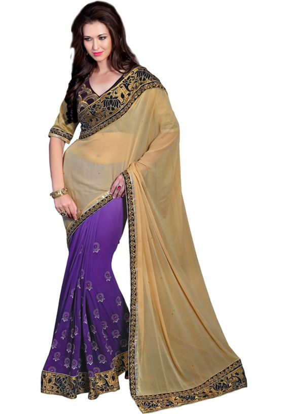 Designer Cream And Purple Wedding Saree-1118