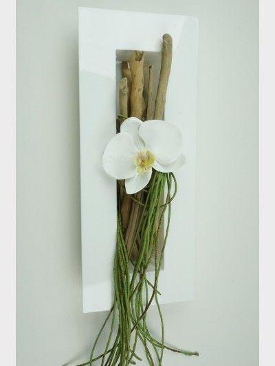 Tableau floral moderne blanc laqu r alisez vous m me ce - Objet de decoration moderne ...