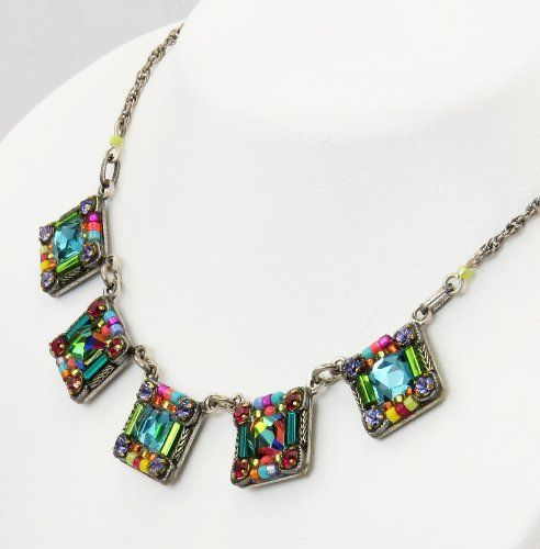 Firefly Jewelry  Necklace With Multicolored Swarovski Crystals Handcrafted in Guatemala