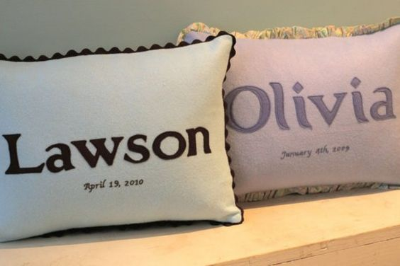Personalized Baby Pillows by abacusathome by abacusathome on Etsy, $48.00