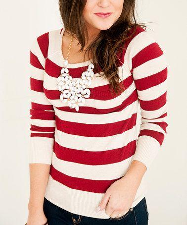 Another great find on #zulily! Crimson & Cream Stripe Sweater #zulilyfinds #boomersooner