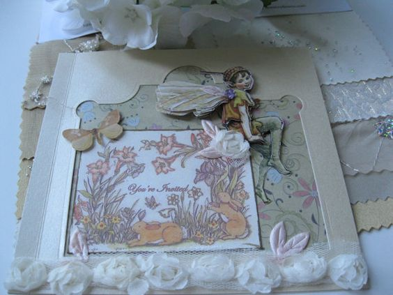 3D Fairy 6x6 blank card with butterfly and spring by BertoliBridal, $5.00