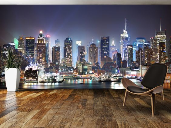 new york wallpaper mural skyline wall mural. Black Bedroom Furniture Sets. Home Design Ideas