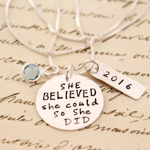 She BELIEVED She Could Charm Necklace Inspirational Jewelry Graduation Jewelry