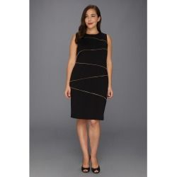 Calvin Klein - Plus Size Sheath Zigzag Dress (Black) - Apparel - product - Product Review