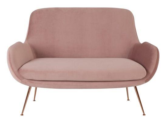 Moby 2 Seater Sofa Vintage Pink Velvet Vintage Sofa Oudroze Fluweel