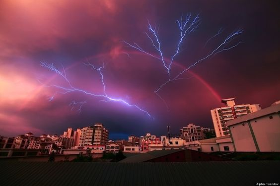 Lightning strikes and rainbow in Haikou