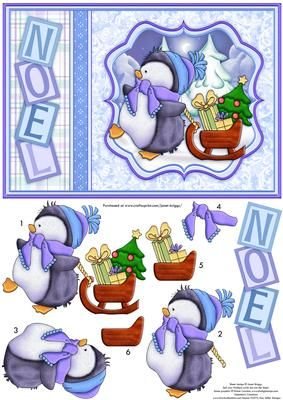 PERCYS PRESENTS Christmas Card Topper Decoupage on Craftsuprint designed by Janet Briggs - Christmas card topper with 3d step by step decoupage.Features cute Percy Penguin with his sleigh.Reads Noel down the side. - Now available for download!