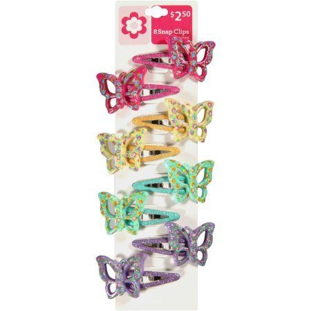 Fantasia Butterfly Snap Clips, 8 count, Toddler Girl's, Assorted