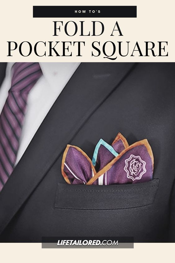 12 Dapper Styles for Folding A Pocket Square. With step by step instructions, we making folding a pocket square and looking like James Bond easy as pie. || Life,Tailored #pocketsquare #mensfashion #fashionhowto #lifetailored
