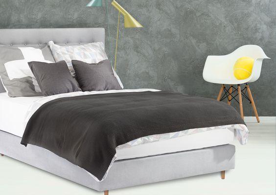 Boxspringbett Heaven Superior von Sleep&Dream / Schwebende Federung / Kopfteil mit Knöpfen / Stoff: Romo Linara