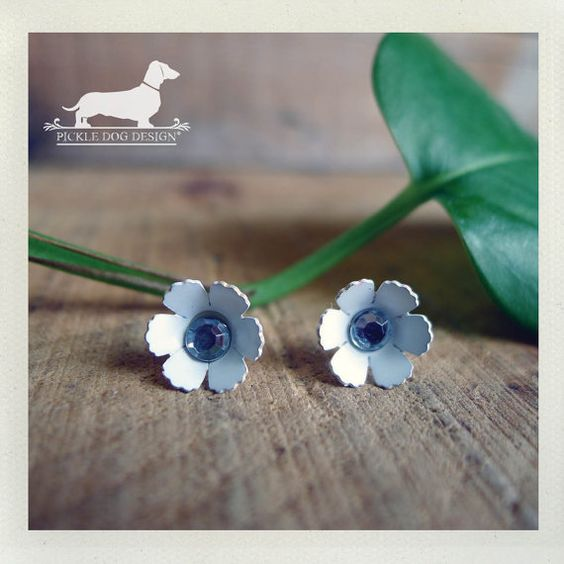 Snow White Petals Daisy Flower Post Earrings  by PickleDogDesign, $6.50