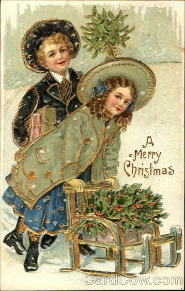 "Antique ""A Merry Christmas"" postcard. Boy is holding mistletoe, the girl is pushing a wagon,with holly. #christmashints"