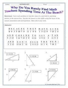 Printables Trigonometry Practice Worksheets right triangles sin cos tan soh cah toa trig riddle practice trigonometry worksheet teacherspayteachers com