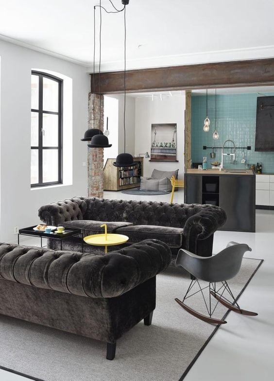 Mobiliario eames y materiales velvet