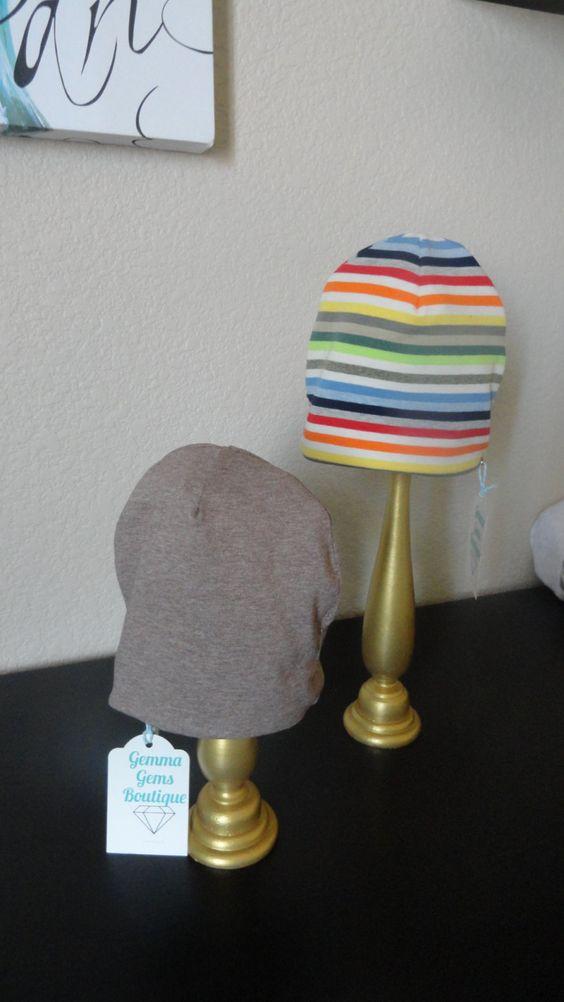 Reversible Multi-Colored Stripe & Camel Brown Hat by GemmaGemsBoutique on Etsy