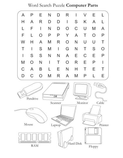 Word Parts Worksheets : Word search puzzle computer parts download free