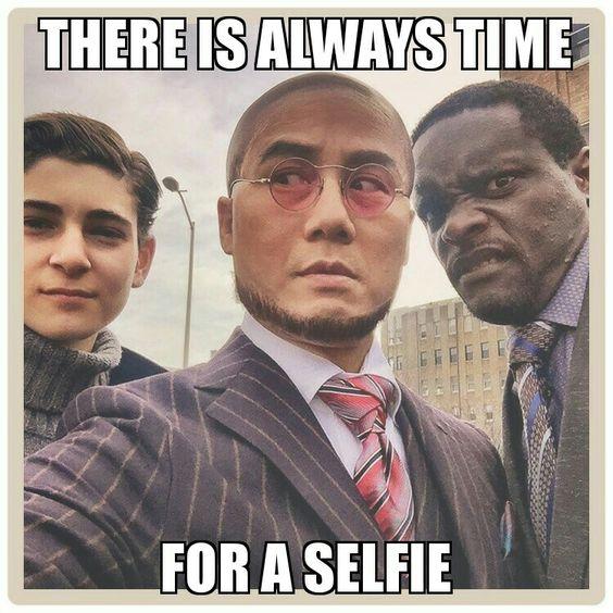 Bruce Wayne, Strange, Lucius Fox, Gotham selfie