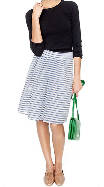 JCrew Outfit (Stripe Skirt + L/S Tee)