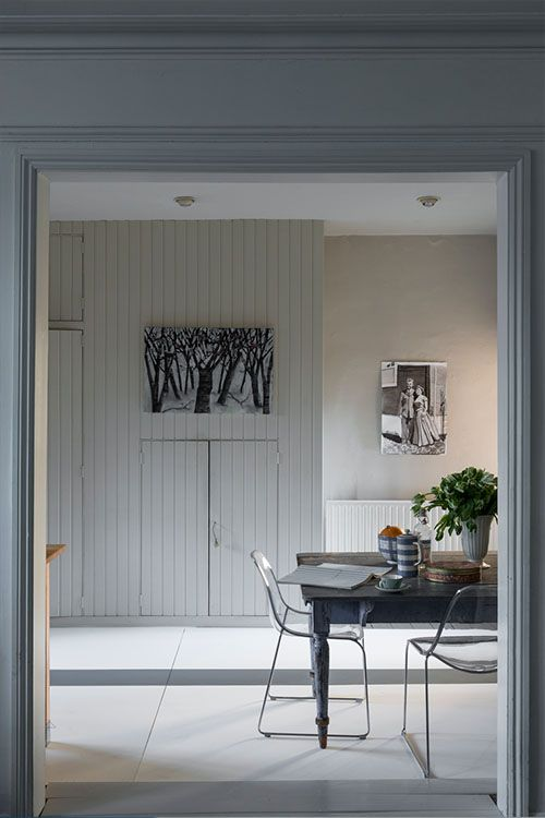Farrow and Ball Strong White with Farrow and Ball Cornforth white panelling