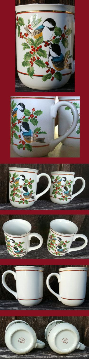 Two Vintage Otagiri Porcelain Mugs, Black Capped Chickadee and Holly Design, Gibson Greeting Cards Inc, Otagiri Japan Mugs, Nature by GourdneckValleyGoods on Etsy