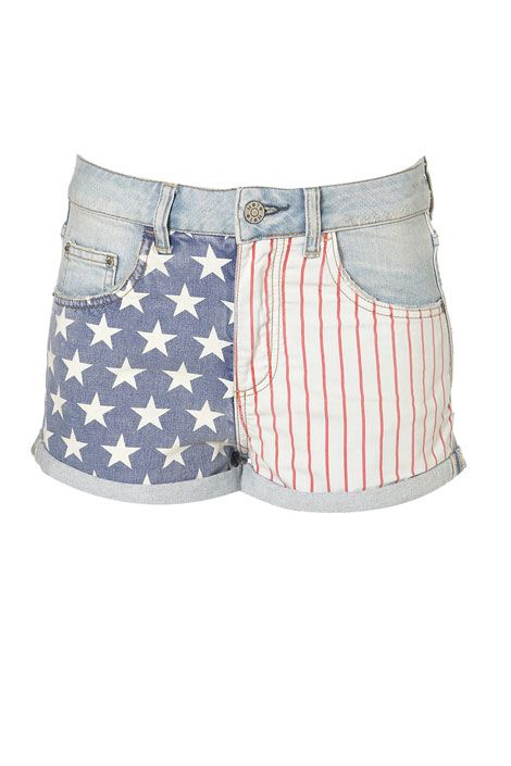 Perfect for July 4th: Topshops flag-print shorts