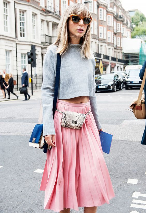 Pink pleated midi skirt, high neck long sleeve, python print fanny pack: