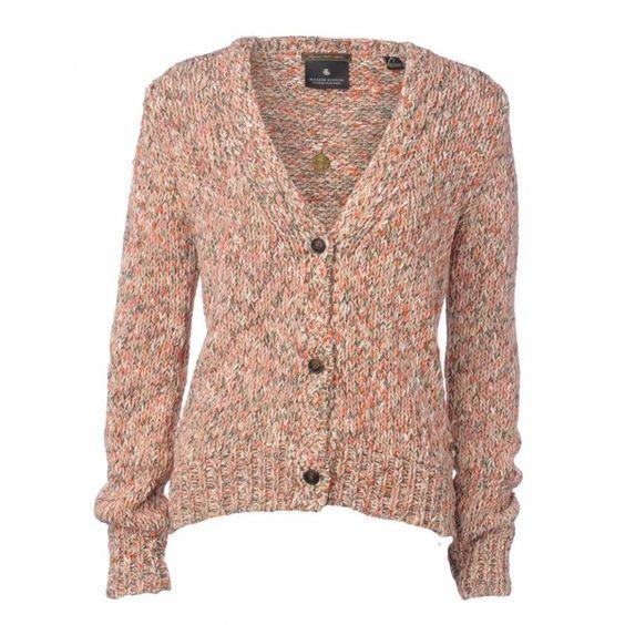 Maison Scotch Cardigan, Peach V-Neck Marie Knit w/ Necklace ($185) ❤ liked on Polyvore