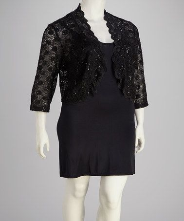 Another great find on #zulily! Black Lace Ruffle Shrug - Plus by R&M Richards #zulilyfinds