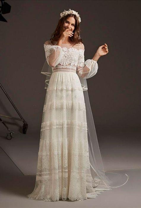 DELPHINE | Mariage robe dentelle, Mariée