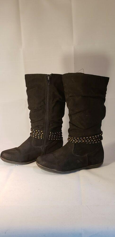 Rampage Girl/'s Black Boots Style Amanda NEW in Box Side Zipper Pretty Size 11 M