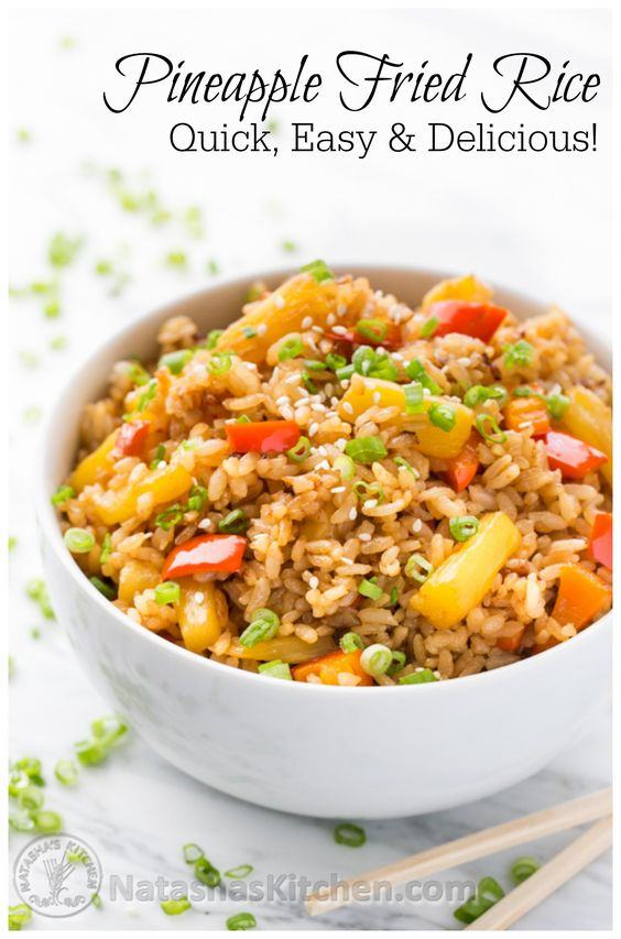 Pineapple Fried Rice - A quick and easy lunch. Great way to use your leftover rice! @NatashasKitchen