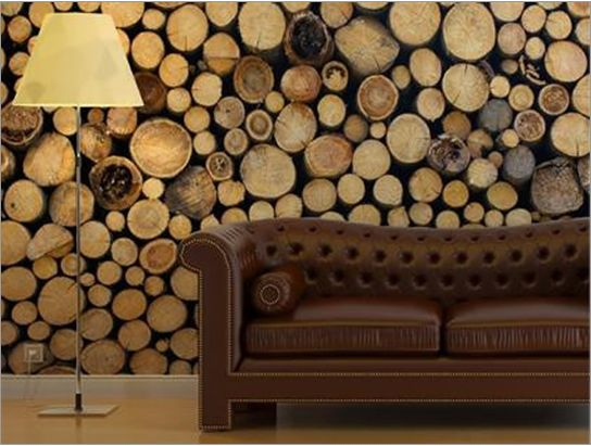 Cool idea a city friendly solution for a woodsy visual for Home wallpaper wood