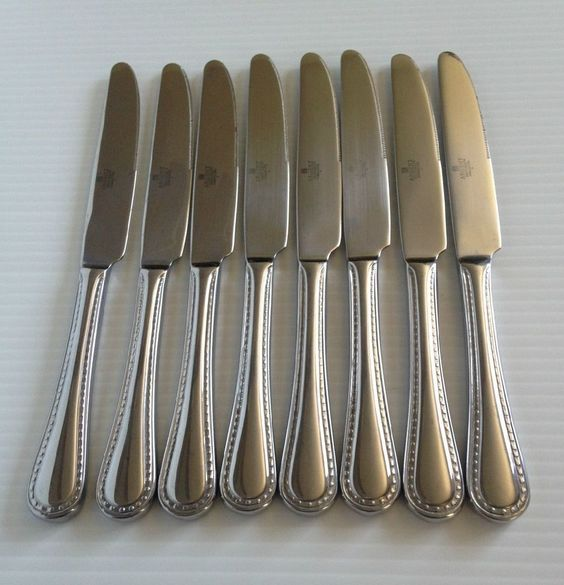 Argent PEARL STAINLESS French Solid Knife Set of 8  #Argent
