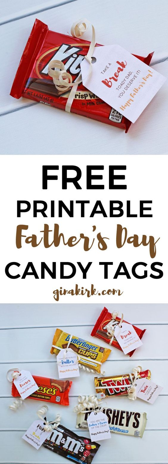 "FREE PRINTABLES:  Father's Day Candy Tags Free Printables via Is She Really ""Father's Day is just a few days away, don't panic if you haven't gotten a gift yet! I created these free printable candy tags just for you!"""