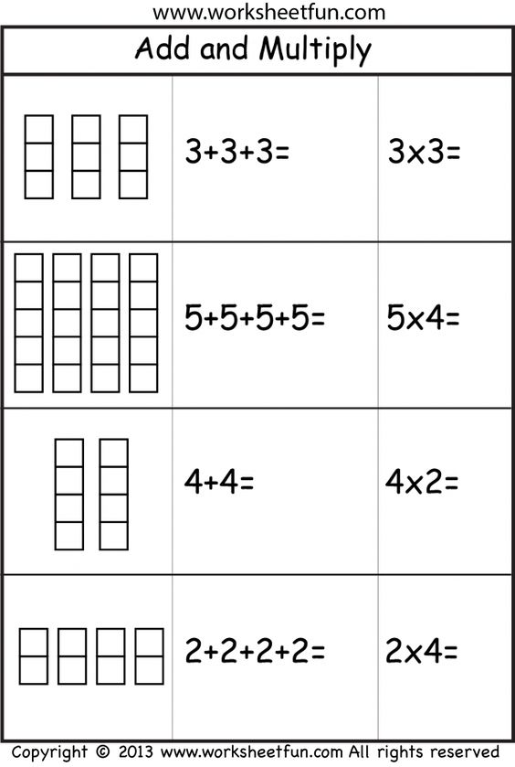 Add and Multiply - Repeated Addition - 2 Worksheets Printable - horizontal multiplication facts worksheets