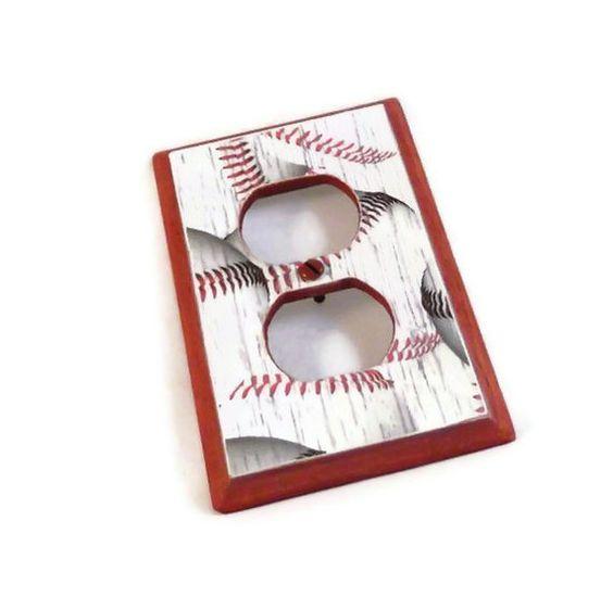 Baseball Room Decor Wood Outlet Cover. $15.00, via Etsy. #baseball #sportstheme #mancave #homedecor