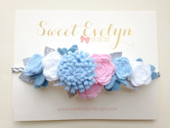 Light Blue Baby Pink White and Silver Felt by SweetEvelynDesigns