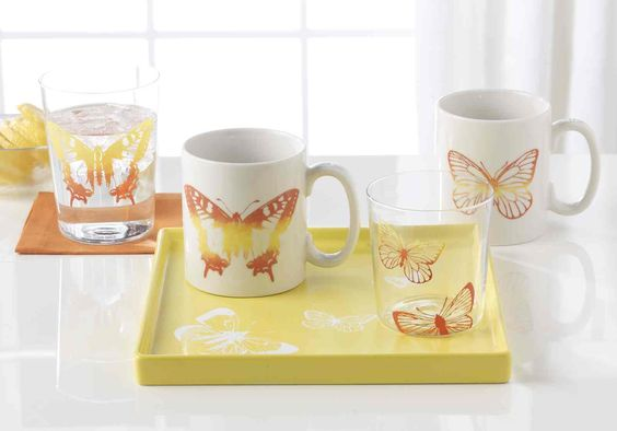 GIve a handmade set of glasses and mugs to the mom who loves to entertain. #marthastewartcrafts #mothersday: Glass Painting, Glass Decorative Painting, Diy Craft, Butterfly Glasses, Crafts Glass, Craft Ideas