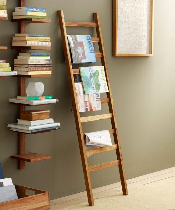 Tealight display towels blankets and ladder - Decorative ladder for bathroom ...