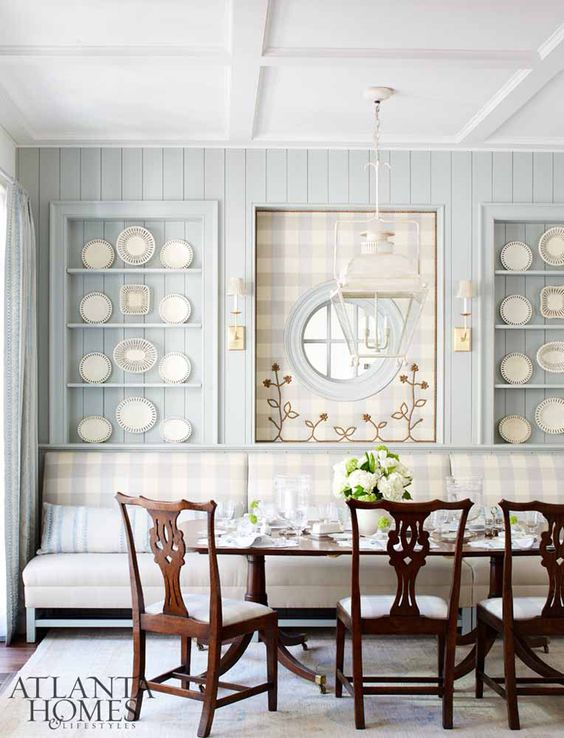 Farrow and Ball Light Blue painted paneling in a classic kitchen dining area. Blue and White Kitchen Decor Inspiration { 40 Home Decor Ideas to PIN}